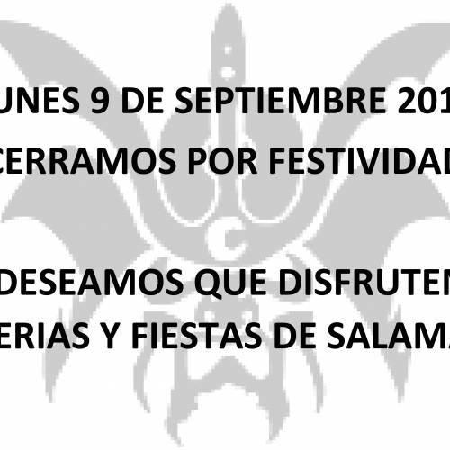 Lunes 9 septiembre 2019 cerramos por fiesta local