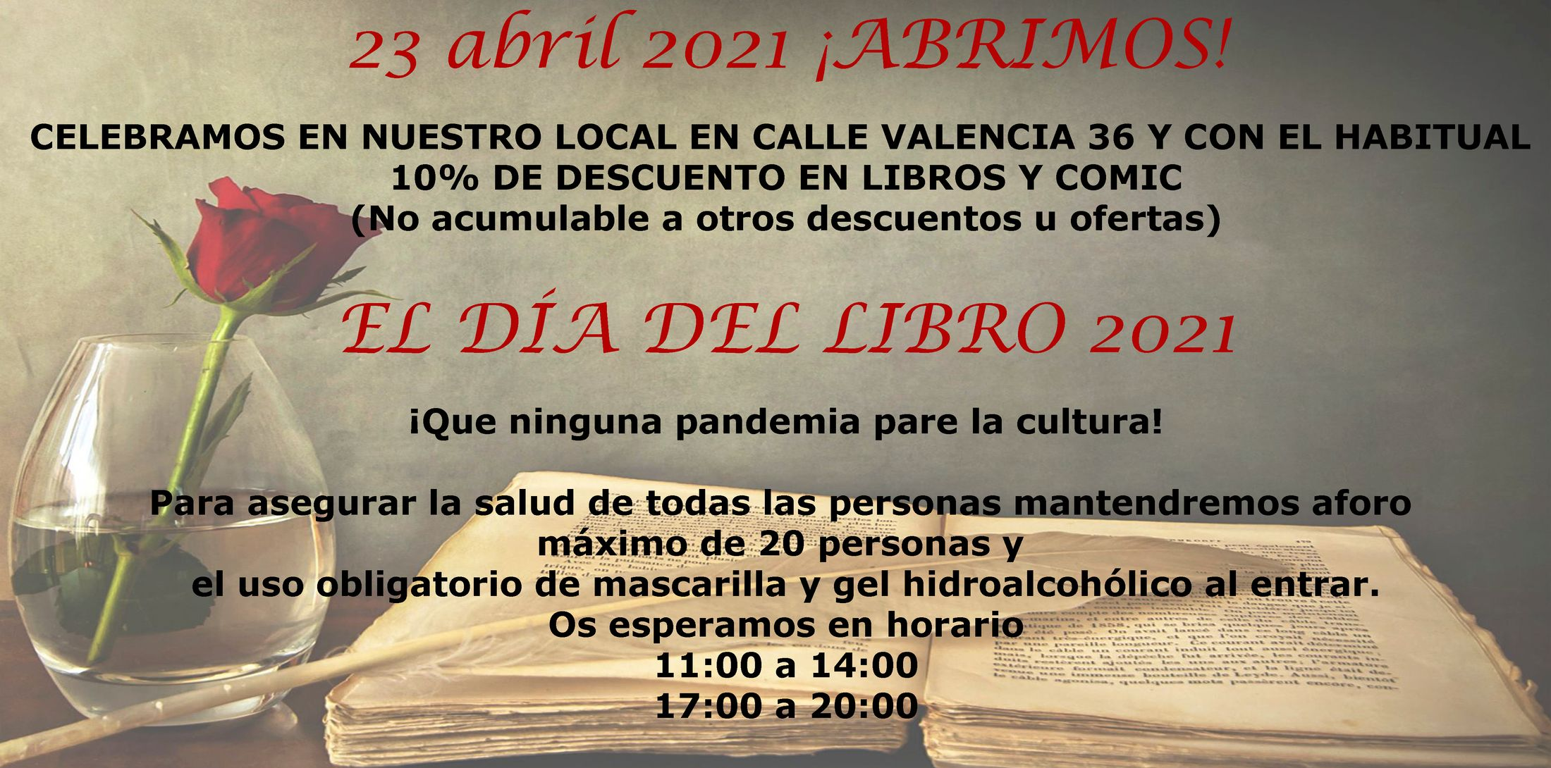 Día del libro 23 abril 2021 ¡ABRIMOS!